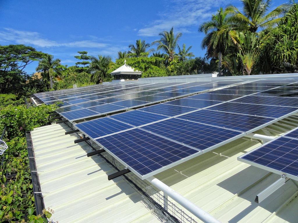 using solar panel at Villa Caletas hotel